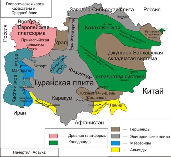 карта Туранской низмености