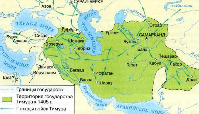 карта империи Тимура